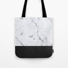 Marble and Leather Tote Bag
