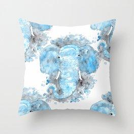 Blue Watercolor Elephant Throw Pillow