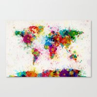 map Canvas Prints featuring Map of the World Map Paint Splashes by artPause