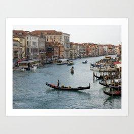 Gondolas in the Grand Canal in Venice Art Print
