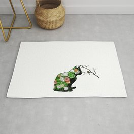 Floral Cat Silhouette Rug