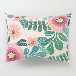 Colorful Tropical Vintage Flowers Abstract Pillow Sham