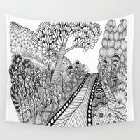zentangle Wall Tapestries featuring Zentangle Illustration - Road Trip by Vermont Greetings