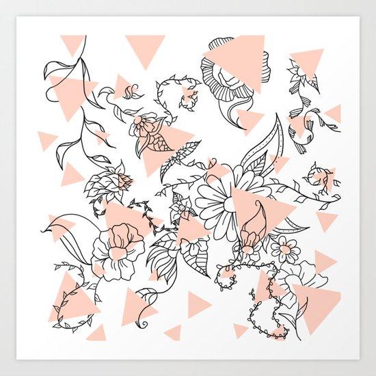 Modern hand drawn floral black illustration abstract blush pink geometric triangles Art Print
