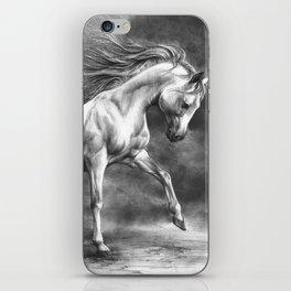 Running white horse - equine art iPhone Skin