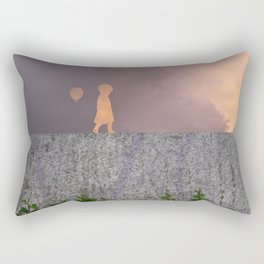 Sunset with girl walking on a wall followed by a balloon Rectangular Pillow