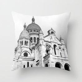 French Sacre Coeur church in Paris Throw Pillow