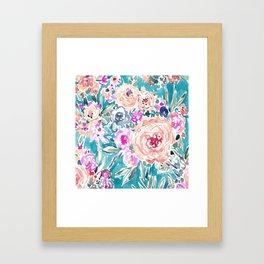 WAHINE WAYS Aqua Tropical Floral Framed Art Print