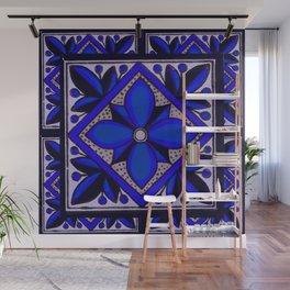 talavera mexican tile in blu Wall Mural