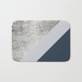 Modern minimalist navy blue grey and silver foil geometric color block Badematte