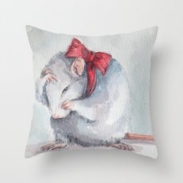 Rat bow Throw Pillow