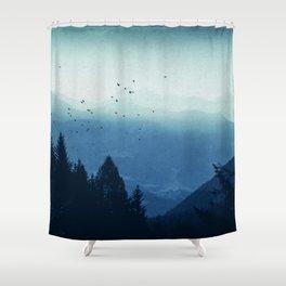 Blue Valmalenco - Misty Blue Mountains Shower Curtain