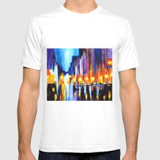 City Nightscape White MEDIUM Mens Fitted Tee