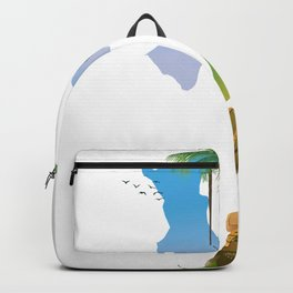 Panama map travel poster. Backpack