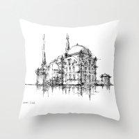 islam Throw Pillows featuring Dolmabahce Mosque by Nikoloz Lekveishvili