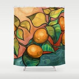 Coral Sunset over Lemon tree Shower Curtain