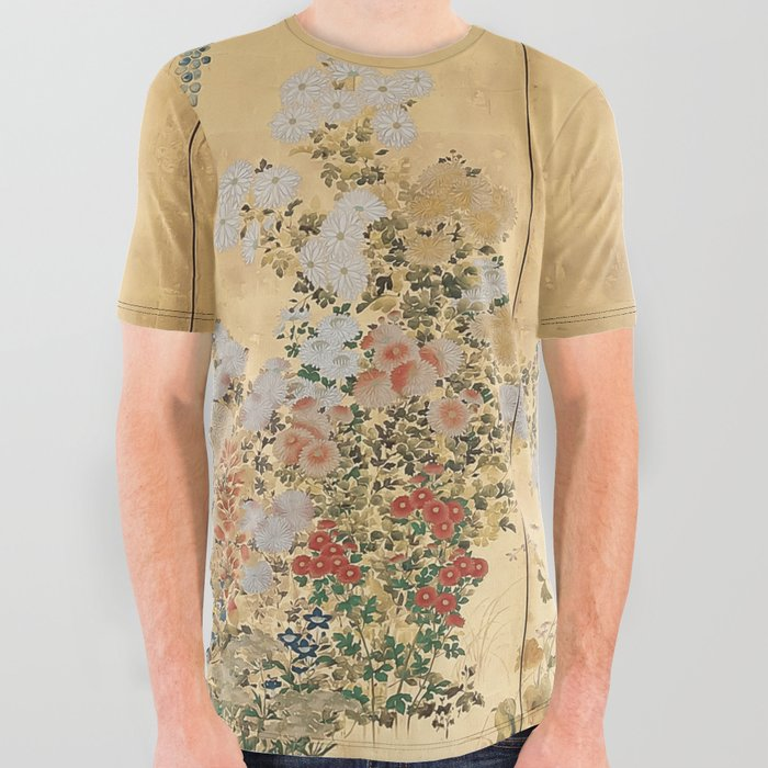 Japanese Edo Period Six-Panel Gold Leaf Screen - Spring and Autumn Flowers All Over Graphic Tee