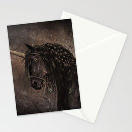 Dreamy Unicorn with brown grunge background Stationery Cards