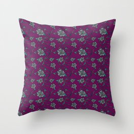 Barbed Roses - Grey on Purple Throw Pillow