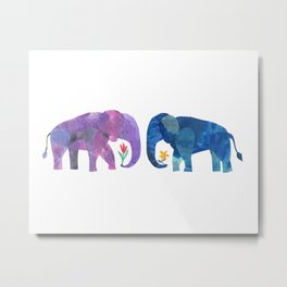 Elephants in Love Metal Print