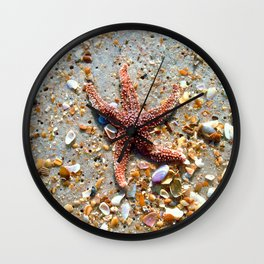 Washed up Beautiful Red Starfish Photo Art Wall Clock