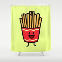 french fries Shower Curtains featuring Happy Fries by Berenice Limon