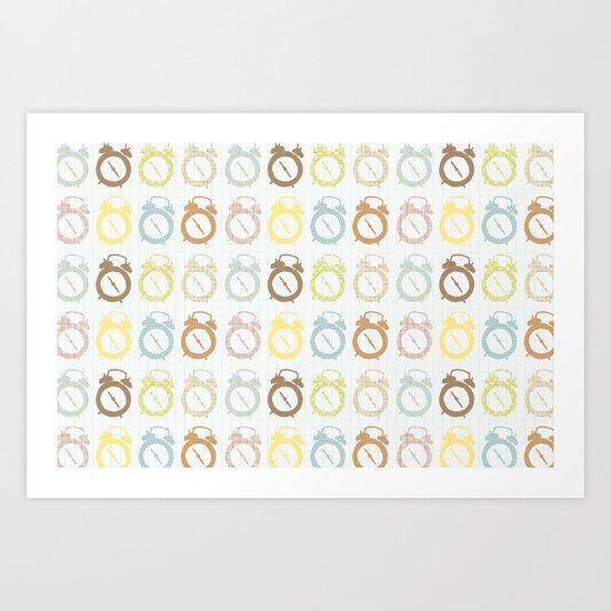 clocks pattern Art Print