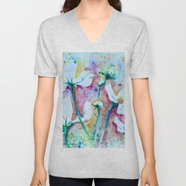 Cool Blue Vibrant Cosmos watercolor by CheyAnne Sexton Unisex V-Neck