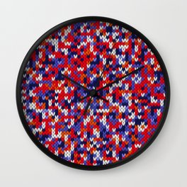 Knitted multicolor pattern 3 Wall Clock