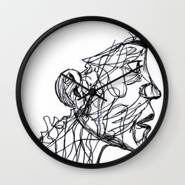 Face Full Of Lines Wall Clock