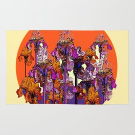 "modern art "" PURPLE & CREAM "" ORANGE IRIS GARDEN Rug"