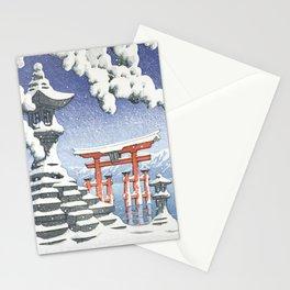 Itsukushima Shrine, Miyajima In Snow - Vintage Japanese Woodblock Print Art Stationery Cards