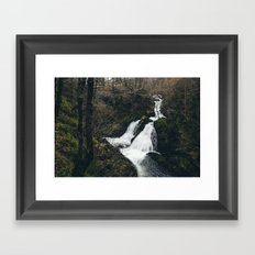 Colwith Force waterfall during heavy rain. Cumbria, UK. Framed Art Print