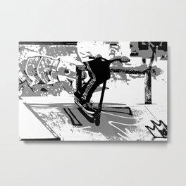 Down the Ramp - Stunt Scooter Rider  Metal Print