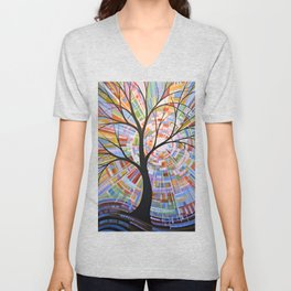 Abstract Art Landscape Original Painting ... Here Comes the Sun Unisex V-Neck