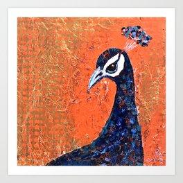 Pop Art Peacock blue-on-orange Art Print