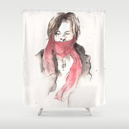 scarves of red tied 'round their necks. Shower Curtain