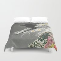 skiing Duvet Covers featuring Spring Skiing by Sarah Eisenlohr