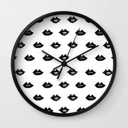 Linocut lips minimal black and white makeup fashion pattern printmaking lip Wall Clock