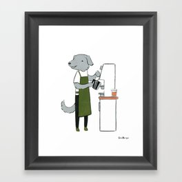 Deerhound Barista (Dogs with Jobs series) Framed Art Print