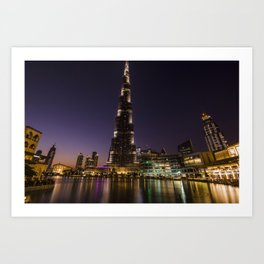 Burj khalifa at night Art Print