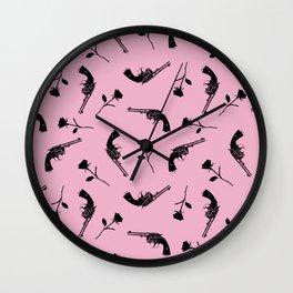 Roses & Revolvers // Pink Wall Clock