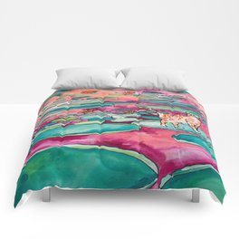 Ginger Cat amongst the Lily Pads on a Pink Lake Comforters