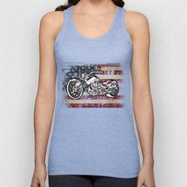 American Motorcycle US Flag Biker Mens print Unisex Tank Top
