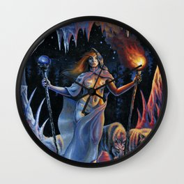 Two of Wands - Woman & Wolves Wall Clock