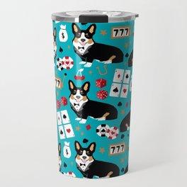 Welsh Corgi tricolored fancy poker night blackjack casino corgis cute dog breed gifts Travel Mug