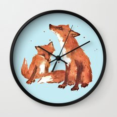 Blue Foxes, Cute fox art, nursery foxes, nursery decor, cool brother foxes, fox pillows Wall Clock