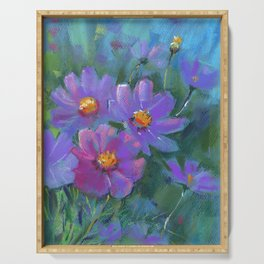 Garden flowers (Cosmos bipinnatus, Mexican aster) pastel painting on pastel paper) Serving Tray