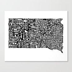 Typographic South Dakota Canvas Print