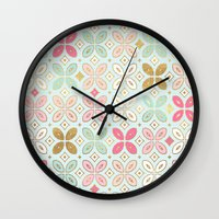 moroccan Wall Clocks featuring MOROCCAN TILE by Monika Strigel